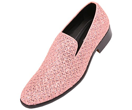 (Bolano Mens Metallic Sparkling Lattice Glitter Tuxedo Slip On Smoking Slipper Dress Shoe, Style Sarlo)