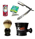 Classic Samurai Men's Shaving Set with Stainless Steel Professional Barber Straight Razor Shavette, 100 Derby Blades, Synthetic Shaving Brush, Arko Soap & Porcelain Mug (Silver Metal Gift Set)