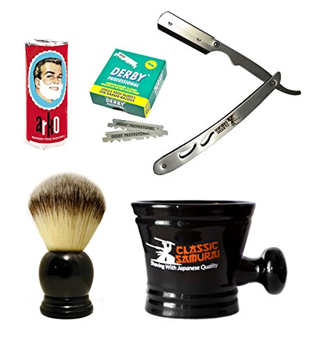 Derby Porcelain (Classic Samurai Men's Shaving Set with Stainless Steel Professional Barber Straight Razor Shavette, 100 Derby Blades, Synthetic Shaving Brush, Arko Soap & Porcelain Mug (Silver Metal Gift Set))