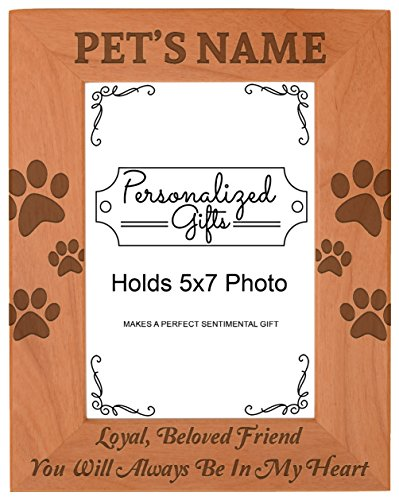 - Custom Pet Bereavement Gift Add Name Personalized Natural Wood Engraved 5x7 Portrait Picture Frame