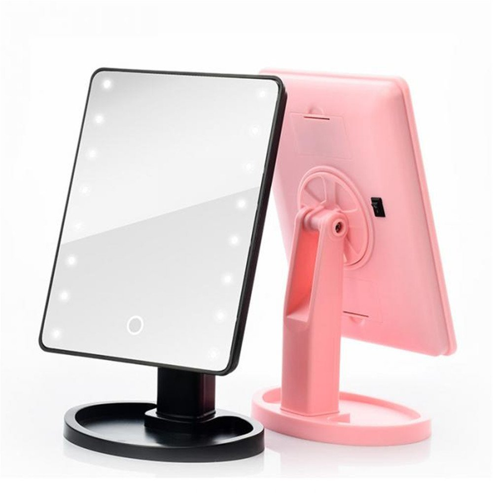 GF Wood Led Touch Screen Mirrors 360 Degrees Rotation Makeup Mirror Adjustable 16/22 Leds Lighted Portable Luminous Cosmetic Mirrors,Pink 22 Led by GF Wood (Image #3)