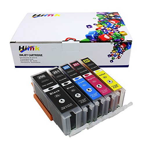 Hi Ink 5 Pack PGI250 CLI251 High Yield ink for Canon PGI-250XL CLI-251XL (1 Black, 1 Cyan,1 Magenta, 1 Yellow, 1 Photo Black) 5 Pack Compatible With PIXMA IP7220 iX6820 MG5420 MG5422 MG5520 MG5522 MG6420 MX722 MX922