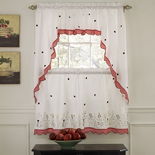 Sweet Home Collection Tsv-216-24-Red 5 Pc Kitchen Curtain Set, Swag Pair, Valance, 24