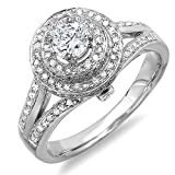 1.25 Carat (ctw) 10k White Gold Round Diamond Halo Style Split Shank Vintage Bridal Engagement Ring