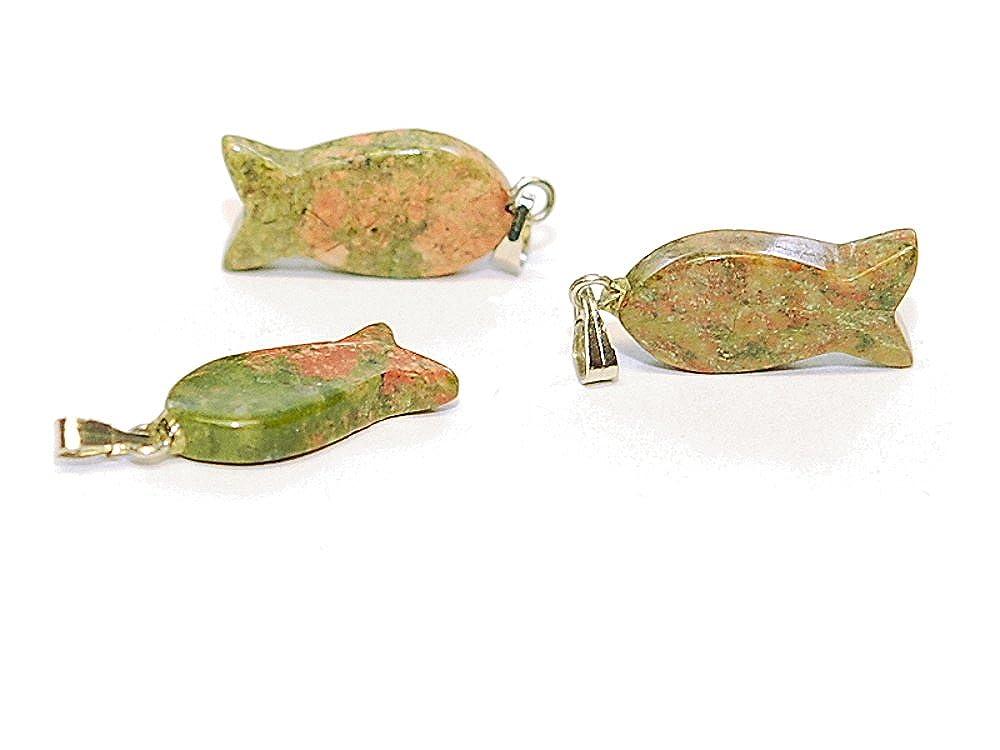 3x Anhänger grün rosa //F005g Jaspis Fischform