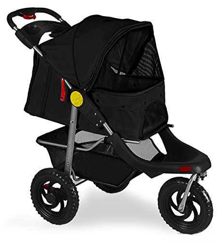 Marketworldcup Pet Stroller Cat Dog 3-Wheel Walk Jogger Travel Folding Carrier Deluxe BK by Marketworldcup