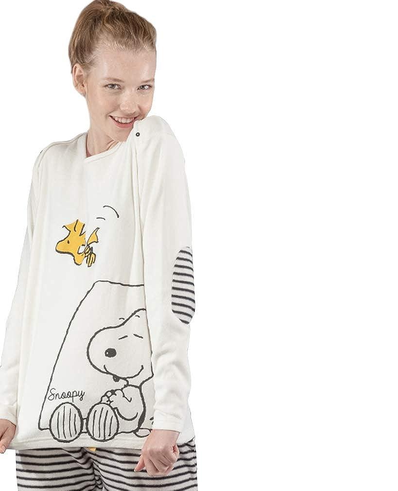 GISELA Pijama Polar para Mujer de Snoopy (XL)