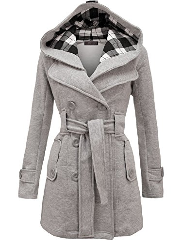 Envy Boutique Women's Military Button Hooded Fleece Belted J