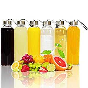 Glass Water Bottles With Sleeves - 18 Oz - By Golden Spoon - Pack Of 6 - Sturdy & Durable Construction - Stainless Steel Caps With Carrying Loop - Ideal For Beverages, Juice & Water