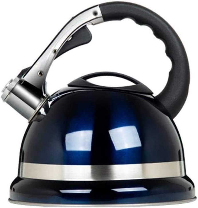Tetera silbante Acero Inoxidable Cocina de 3,5 litros Top Moderna Whistling Kettle Gran Capacidad de la Caldera Luz WHLONG (Color : Blue)