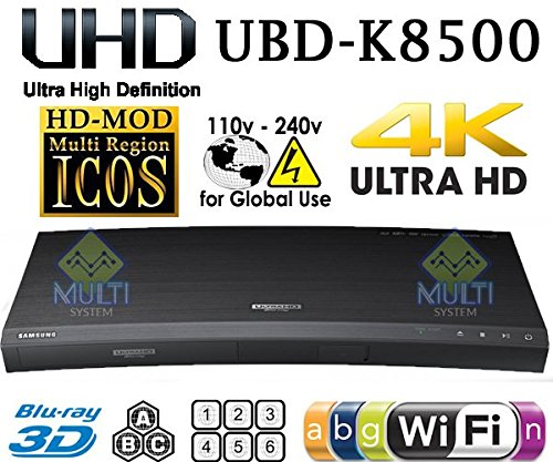 SAMSUNG UBD-K8500 - 4K TRUE UHD PLAYER- 2D/3D - Wi-Fi - Multi System Region Free Blu Ray Disc DVD Player - DUAL HDMI - PAL/NTSC - USB - 100-240V 50/60Hz + 6 Feet UHD HDMI Cable Included