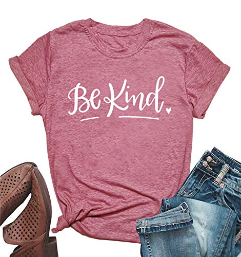 ALLTB Be Kind Thanksgiving T Shirt Womens Funny Letters Cute Heart Print Inspirational Fall Christian Top Shirts Red
