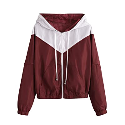 ZAFUL Women's Long Sleeve Hooded Collar Wide Waist Two Tone Windbreaker Jacket at Women's Coats Shop