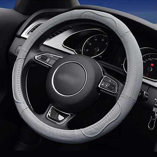 LOCEN Genuine Leather Car steering Wheel Cover - B STYLE - Grey (Outer Diameter 35CM-36CM)