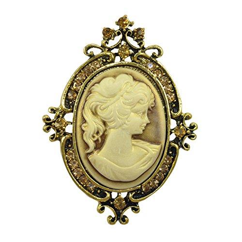 Gyn&Joy Vintage Style Cameo Victorian Lady Maiden Crystal Rhinestone Pin Brooch BZ037 (Old Gold)