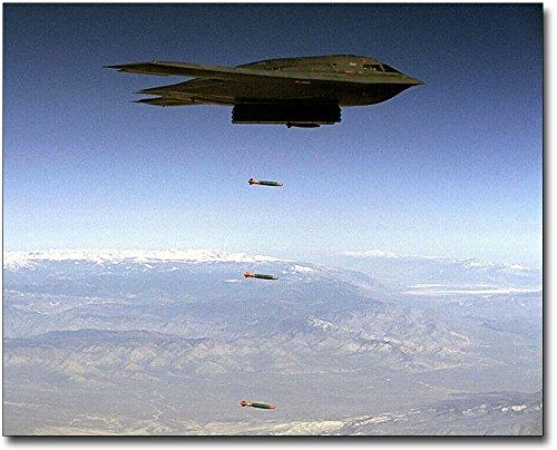 - B-2 Spirit Stealth Bomber Dropping Bombs 8x10 Silver Halide Photo Print