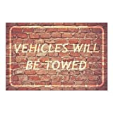 CGSignLab | ''Vehicles Will Be Towed -Ghost Aged Brick'' Repositionable Opaque White 1st Surface Static-Cling Non-Adhesive Window Decal (5-Pack) | 27''x18''