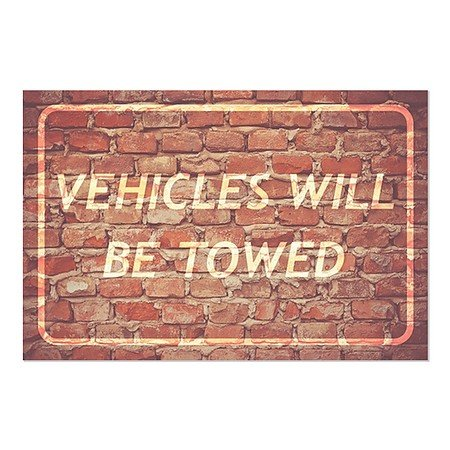 CGSignLab | ''Vehicles Will Be Towed -Ghost Aged Brick'' Repositionable Opaque White 1st Surface Static-Cling Non-Adhesive Window Decal (5-Pack) | 27''x18'' by CGSignLab