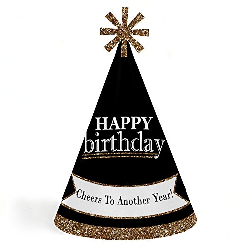Adults Happy Birthday - Gold - Cone Birthday Party Hats for Kids and Adults - Set of 8 (Standard Size) by Big Dot of Happiness