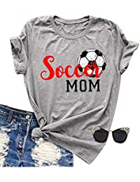 3fa6fefd9 Women Soccer Mom Letter Printed T Shirt Football Graphic Fashion Top Tee