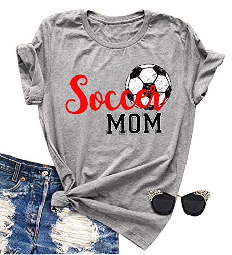 YUYUEYUE Women Soccer Mom Letter Printed T Shirt Football Graphic Fashion Top Tee (Medium) Gray ()