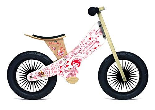 (Kinderfeets Retro Wooden Balance Bike, Pretty Princess)