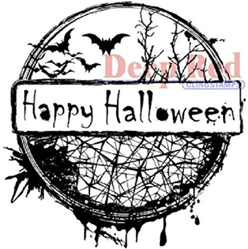 ShopForAllYou Stamping & Embossing Rubber Cling Stamp Happy Halloween Spooky Scene Bats Web]()