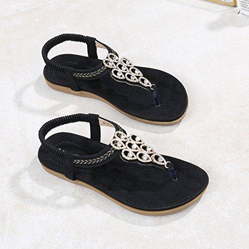 Talon Plat Noir Strass Strings Flip Boho Chaussures Sangle De Cheville D'été Plage De Post Basse Femmes 8159 Belloo Sandales Flops wzqxBSanC