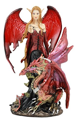 """Ebros Red Fairy Dragon Figurine 8"""" Tall Pixie Fire for sale  Delivered anywhere in Canada"""