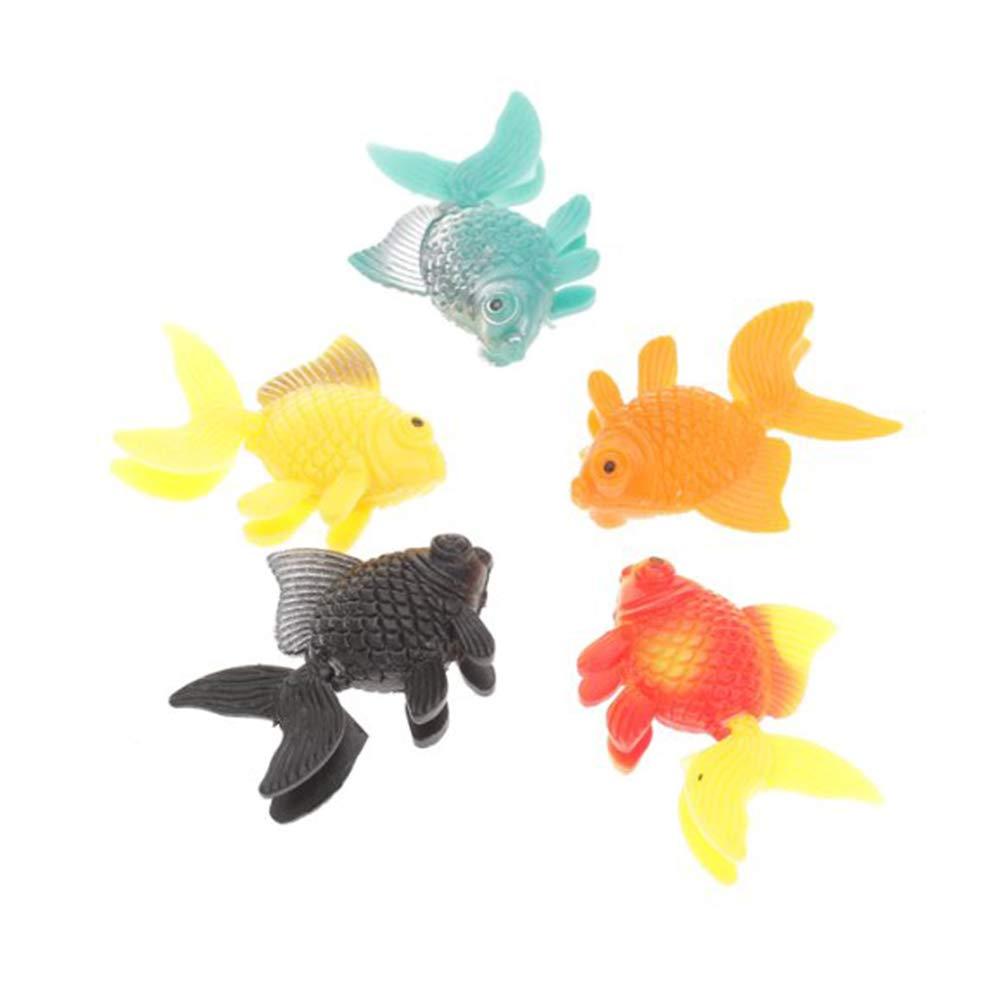 JER 5pcs Lifelike Plastique Artificielle Mouvement Flottant Poissons Ornement Décorations pour Aquarium de Poissons (Couleur aléatoire) Produits pour Animaux Domestiques