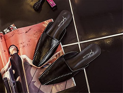 Shoes Mules Slippers Sandals pit4tk Woman Slides Black Slippers Summer Women Flats Half wxqIaXU