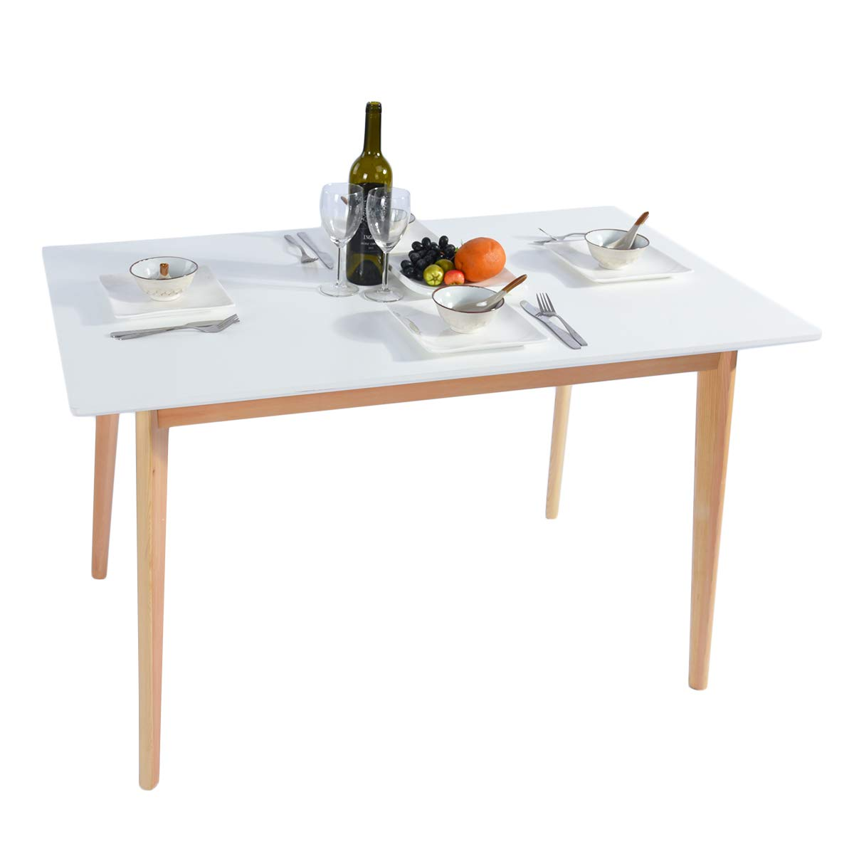 GreenForest Dining Table Mid Century Modern Rectangular Kitchen Leisure Table with Solid Wooden Legs 47.2'' x 27.6''x 30'', White by GreenForest