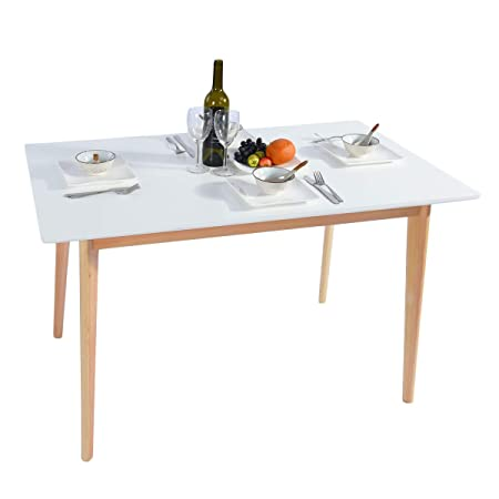 GreenForest Dining Table Mid Century Modern Rectangular Kitchen Table with Solid Wooden Legs for Dining Room 47.2 x 27.6 x 30 , White