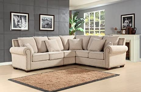 Abbyson Living Sutter CI-D150-CRM Stationary Fabric Sectional Sofa with Left Arm Facing : right arm facing sectional - Sectionals, Sofas & Couches