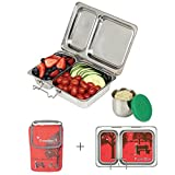 PlanetBox Shuttle Lunchbox- Red  Carry Bag with Day In The Park Magnets