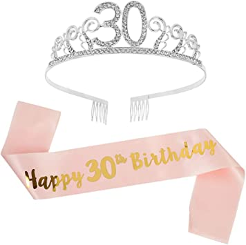 ruggito DaricowathX Crown Headband 30th Birthday Tiara Rhinestone Crystal Crown and 30th Birthday Sash for 30th Birthday Decoration Girls Women