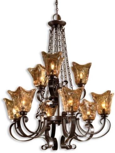 Uttermost 21005 Vetraio 9-Light Chandelier, Oil Rubbed Bronze Finish, 31 x 31 x 38