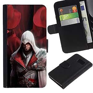 NEECELL GIFT forCITY // Billetera de cuero Caso Cubierta de protección Carcasa / Leather Wallet Case for Samsung Galaxy S6 // Assassin Pirata