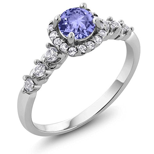 Gem Stone King Tanzanite and White Created Sapphire 925 Sterling Silver Engagement Ring (0.88 Ct Round Available 5,6,7,8,9) (Size 6)