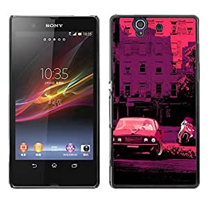 For Sony Xperia Z / L36H / C6602 / C6603 / C6606 / C6616 Case , Retro Car Bike Italy France Pink - Diseño Patrón Teléfono Caso Cubierta Case Bumper Duro Protección Case Cover Funda