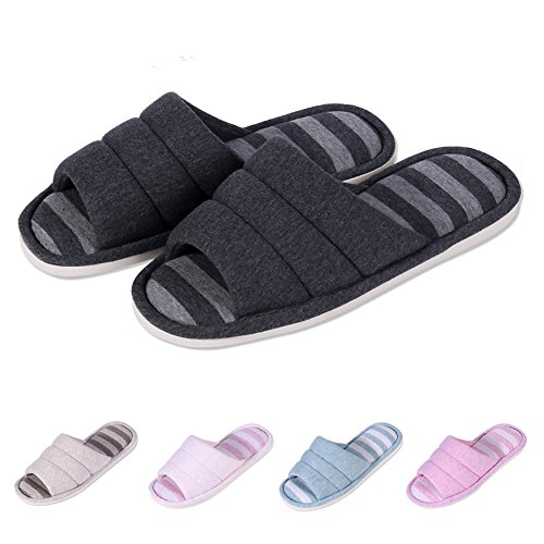 Cotton Foam on Slip Slippers Shevalues Slippers House Open Indoor Home Memory Toe Shoes Black Soft Women's qvYFS