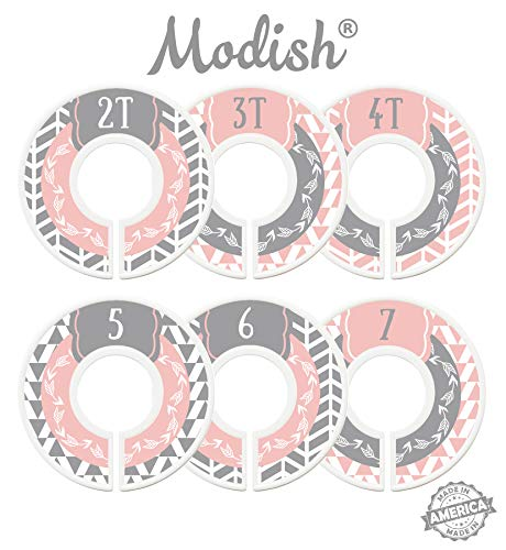 Modish Labels Toddler Closet Dividers, Child Closet Dividers, Toddler Closet Organizers, Toddler Size Dividers, Young Child Clothing Dividers, Woodland, Arrow, Tribal, Pink, Grey, Gray (Toddler/Child)