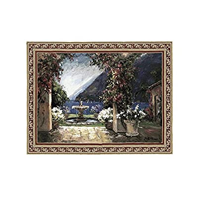 "Fine Art Tapestries ""Seaside Fountain"" Wall Tapestry, Large"