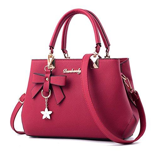 Dreubea Womens Handbag Tote Shoulder Purse Leather Crossbody Bag Wine Red (Retro Leather Tote)