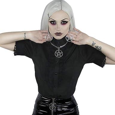 YUFAA Camisa Casual de Manga Corta con Cuello Alto y Blusa gótica Negra de Manga Corta para Mujer Blouse (Color : Negro, Size : M): Amazon.es: Ropa y accesorios