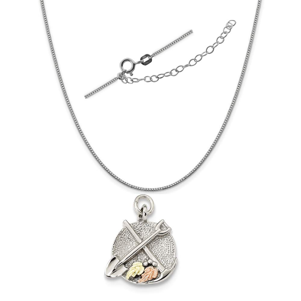 Sterling Silver Two-Tone Accents Panning and Shovel Charm on an Adjustable Chain Necklace