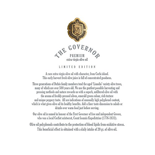 The Governor, Ultra Premium Unfiltered Extra Virgin Olive Oil | Olive Oil Polyphenols with Robust Health-Giving Properties | Cold-Pressed Olive Oil In a Limited Edition Luxury Glass Bottle | 500ml by The Governor (Image #7)