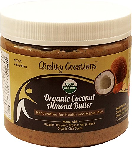 Coconut Almond Butter 100% Organic. Keto - 5 grams of Protein. Low Sugar - Organic Coconut Sugar. Enhanced with Chia, Flax and Hemp. Very Spreadable and So Creamy. Fresh Made Small Batches 425g/15oz.