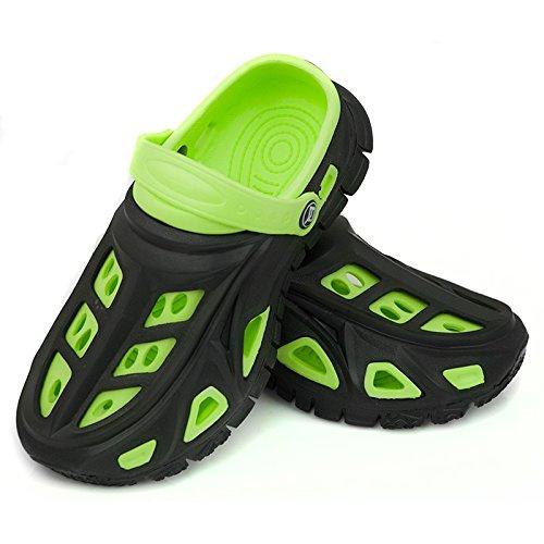 AQUA-SPEED Miami Kinder Badeschuhe / Clogs - sehr leicht (schwarz/grün, 33)