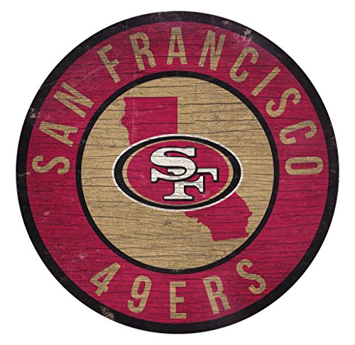 (San Francisco 49ers Wood Sign 12 Inch Round State Design)